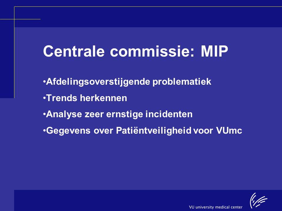 Centrale commissie: MIP Afdelingsoverstijgende problematiek Trends herkennen Analyse zeer ernstige incidenten Gegevens over Patiëntveiligheid voor VUm
