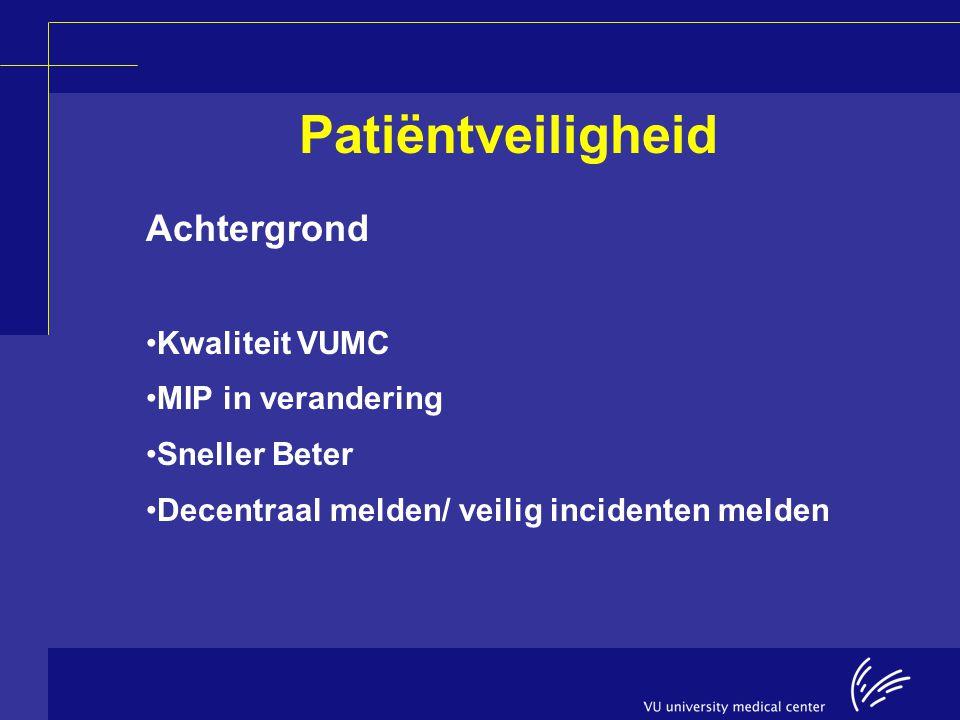 Patiëntveiligheid Achtergrond Kwaliteit VUMC MIP in verandering Sneller Beter Decentraal melden/ veilig incidenten melden