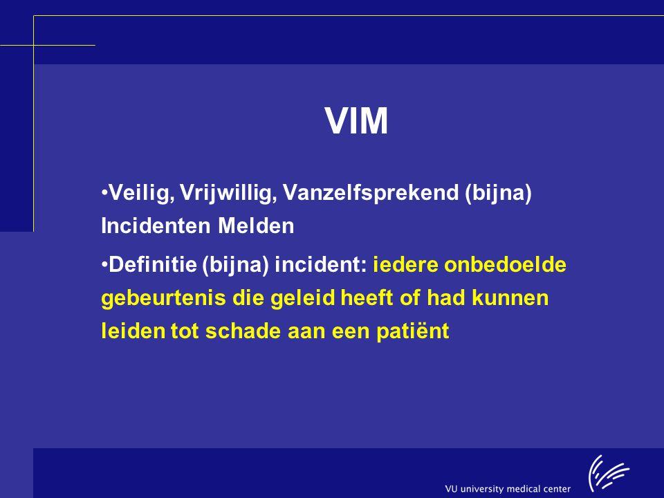 VIM Veilig, Vrijwillig, Vanzelfsprekend (bijna) Incidenten Melden Definitie (bijna) incident: iedere onbedoelde gebeurtenis die geleid heeft of had ku