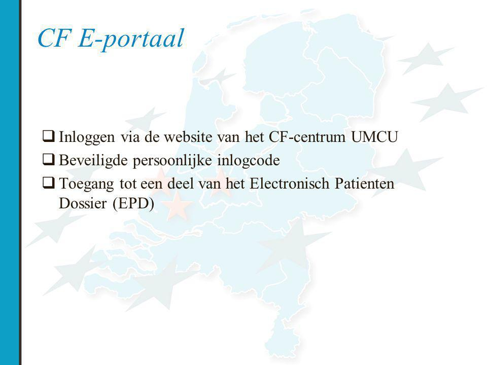 CF E-portaal  Inloggen via de website van het CF-centrum UMCU  Beveiligde persoonlijke inlogcode  Toegang tot een deel van het Electronisch Patient