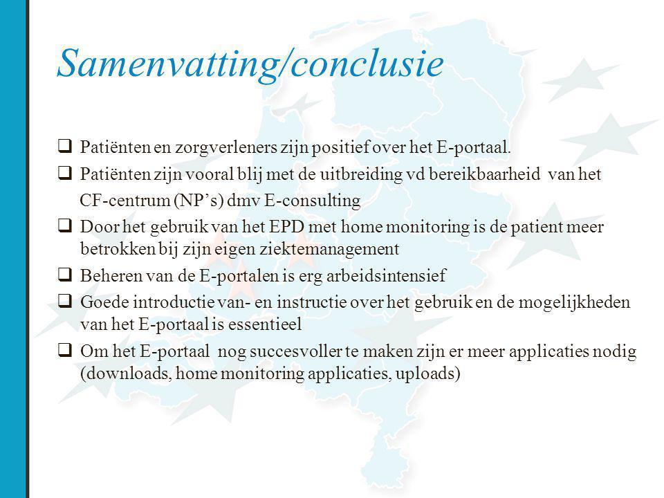 Samenvatting/conclusie  Patiënten en zorgverleners zijn positief over het E-portaal.  Patiënten zijn vooral blij met de uitbreiding vd bereikbaarhei
