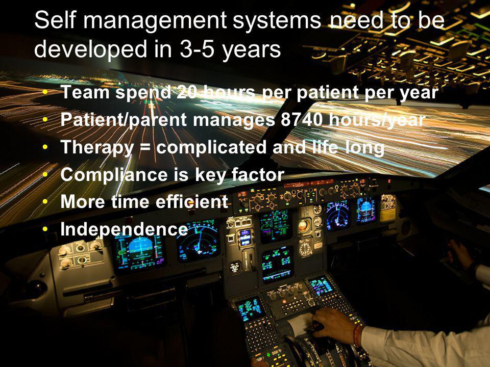 Self management systems need to be developed in 3-5 years Team spend 20 hours per patient per year Patient/parent manages 8740 hours/year Therapy = complicated and life long Compliance is key factor More time efficient Independence