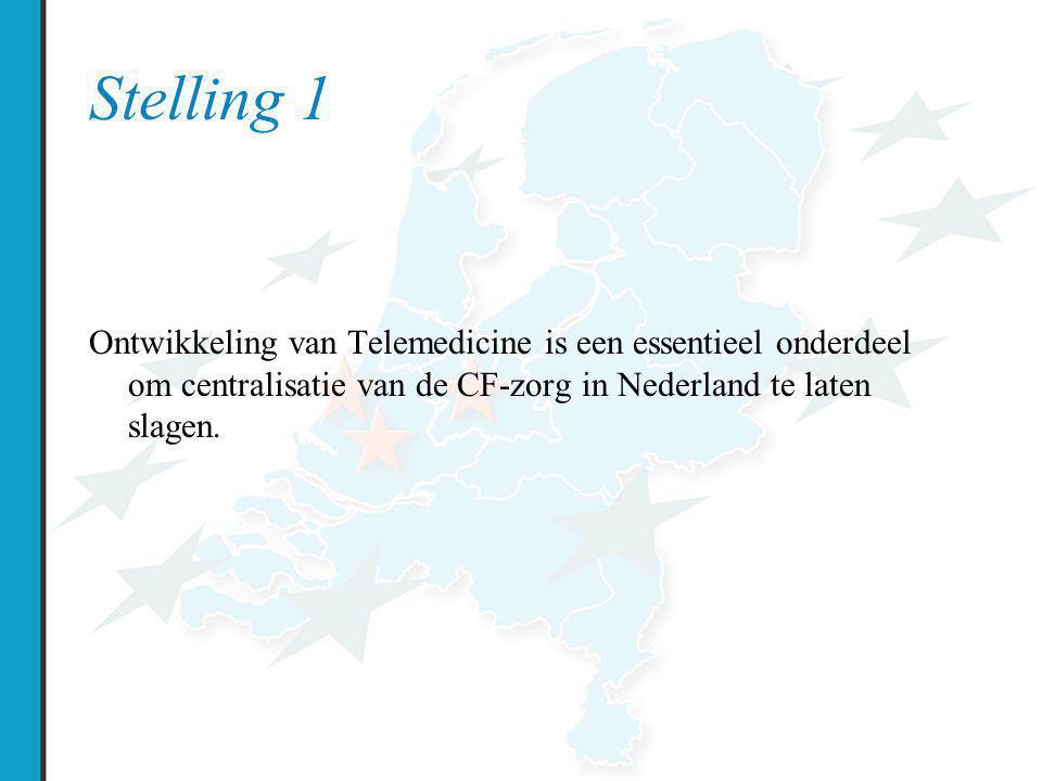 Stelling 1 Ontwikkeling van Telemedicine is een essentieel onderdeel om centralisatie van de CF-zorg in Nederland te laten slagen.