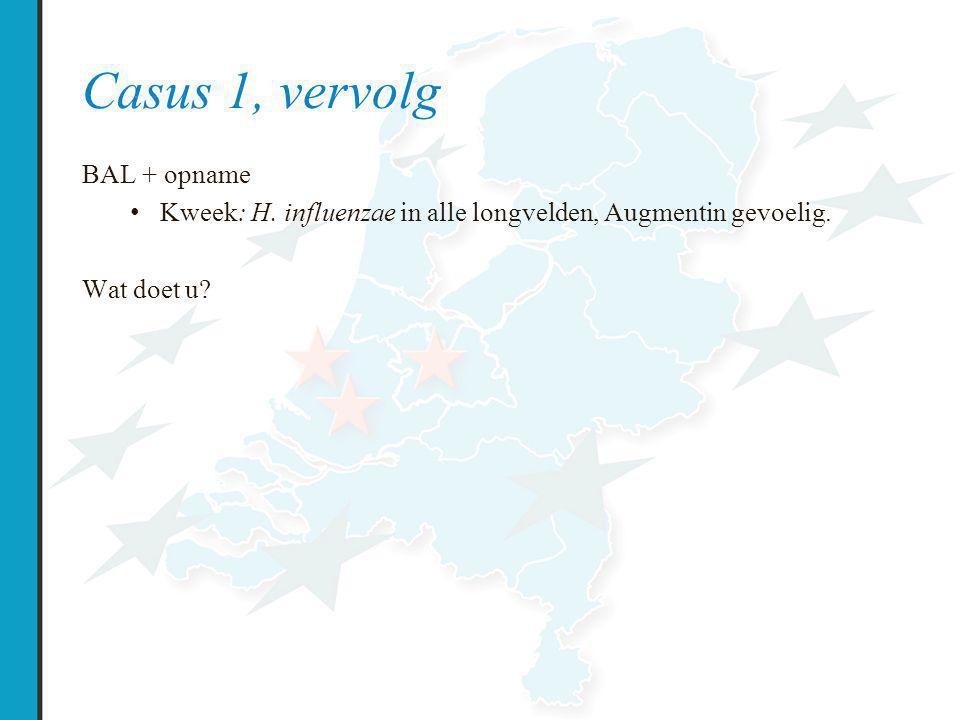 Casus 1, vervolg BAL + opname Kweek: H.influenzae in alle longvelden, Augmentin gevoelig.