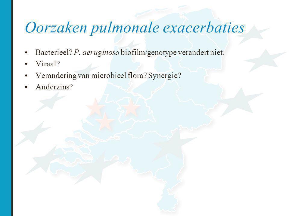 Oorzaken pulmonale exacerbaties Bacterieel.P. aeruginosa biofilm/genotype verandert niet.