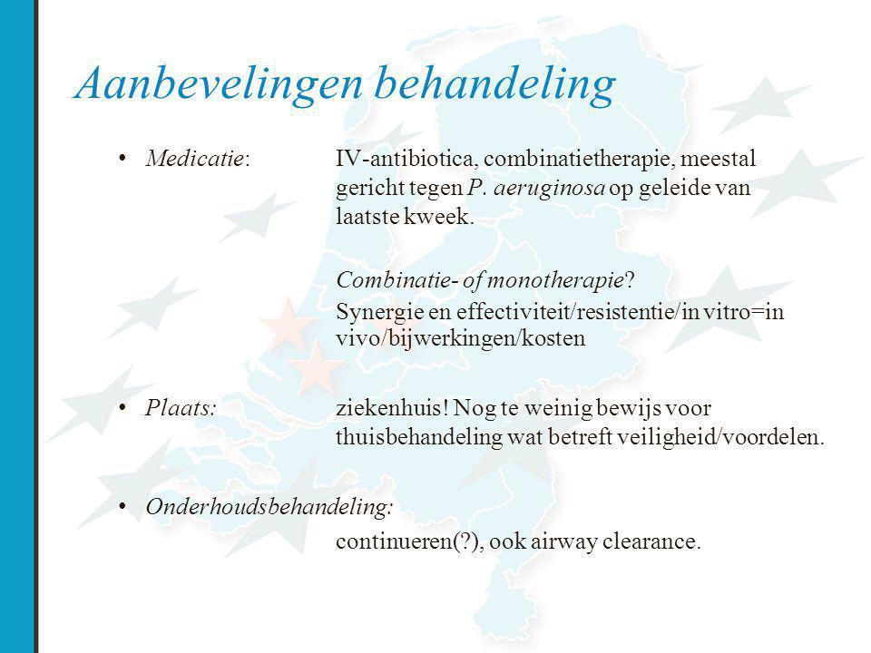 Aanbevelingen behandeling Medicatie: IV-antibiotica, combinatietherapie, meestal gericht tegen P.