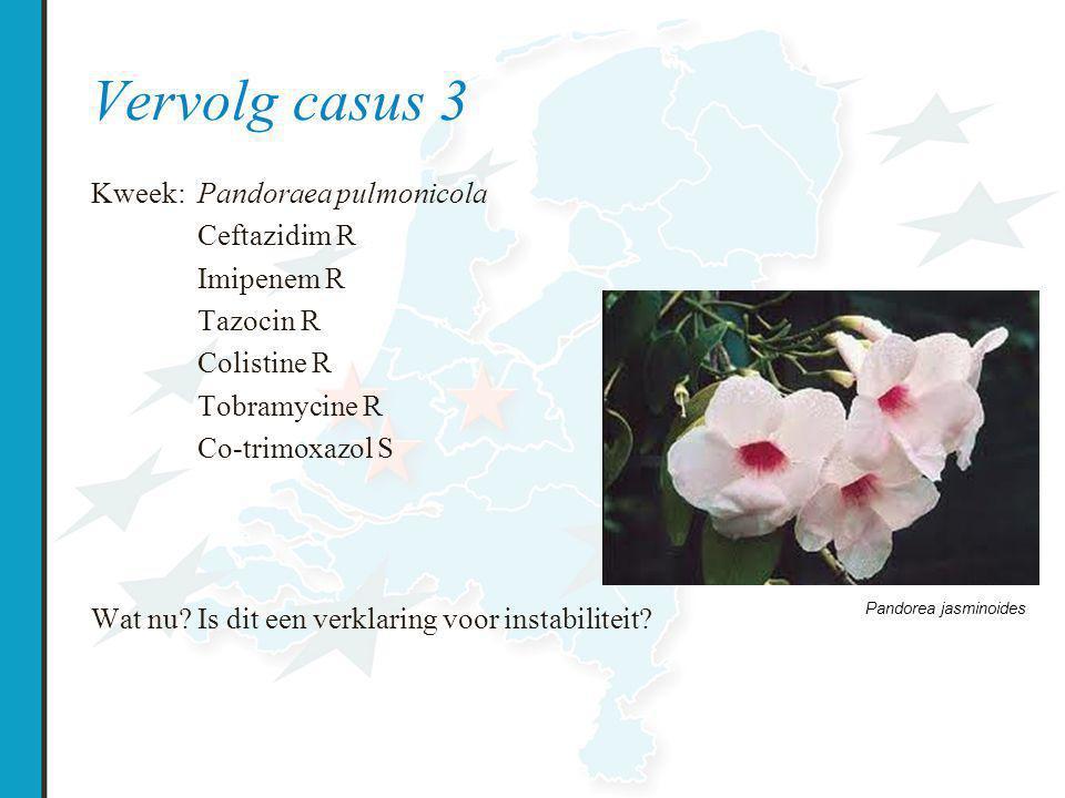 Vervolg casus 3 Kweek: Pandoraea pulmonicola Ceftazidim R Imipenem R Tazocin R Colistine R Tobramycine R Co-trimoxazol S Wat nu.