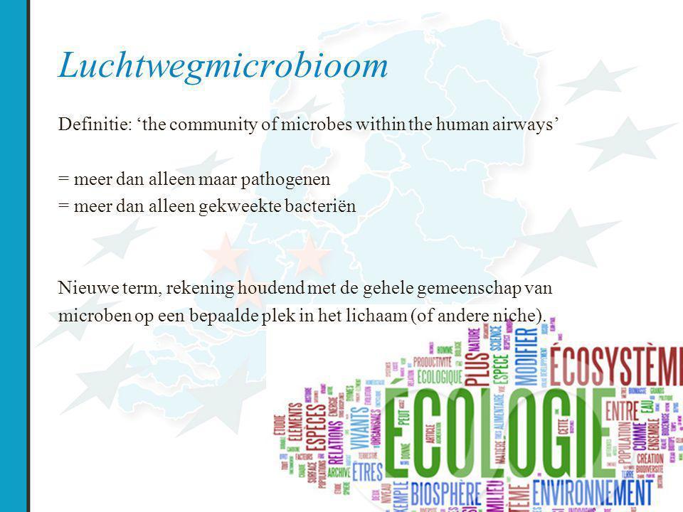 Luchtwegmicrobioom Definitie: 'the community of microbes within the human airways' = meer dan alleen maar pathogenen = meer dan alleen gekweekte bacteriën Nieuwe term, rekening houdend met de gehele gemeenschap van microben op een bepaalde plek in het lichaam (of andere niche).