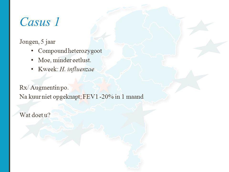 Casus 1 Jongen, 5 jaar Compound heterozygoot Moe, minder eetlust.