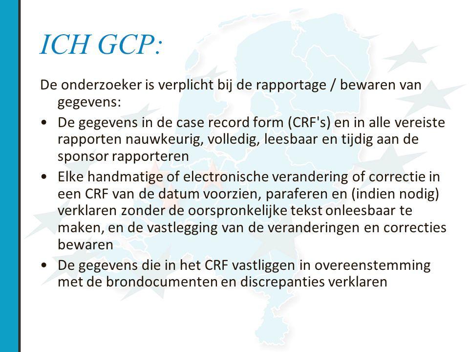 ICH-GCP De opdrachtgever (of onderzoeker) moet waarborgen dat bij de gegevensverwerking: dit electronisch gebeurt een gevalideerd systeem gebruikt wordt schriftelijke procedures vastliggen audit-trail mogelijk is toegang is beveiligd een adequaat reservebestand aanwezig is