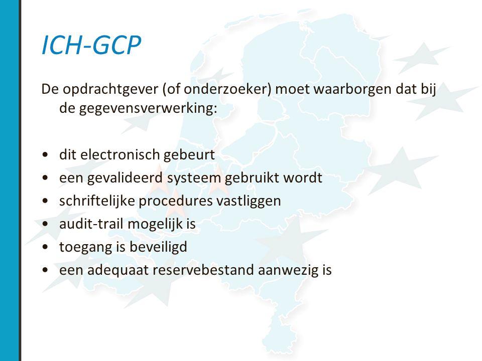 Case Record Form (CRF) bevat anonieme research data van 1 patient waarborg privacy: –coderen CRF: in een gescheiden patient identification log is deze code gelinked aan persoonsgegevens.