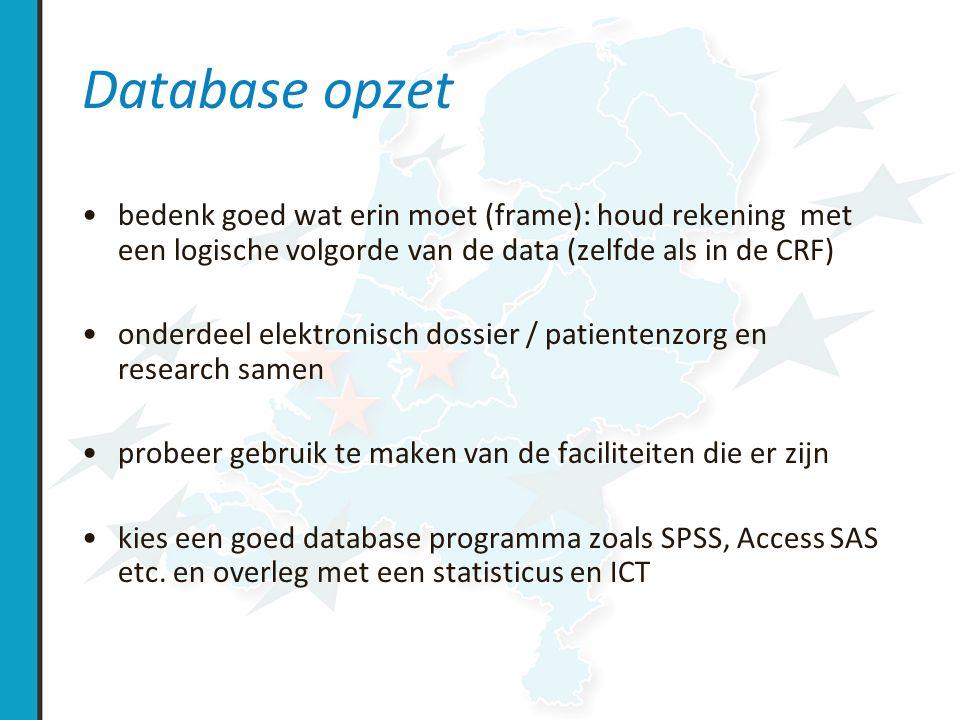 Database opzet verklaar je kolom variabelen, en geef indien toepasbaar normaal waarden beveilig je data maak een logboek aan van je database: –maak notities over de opzet van de database –de gebruikte namen voor de variabelen en coderingen –schrijf ook alle veranderingen op, redenen voor veranderingen, dateer deze en authorizeer deze