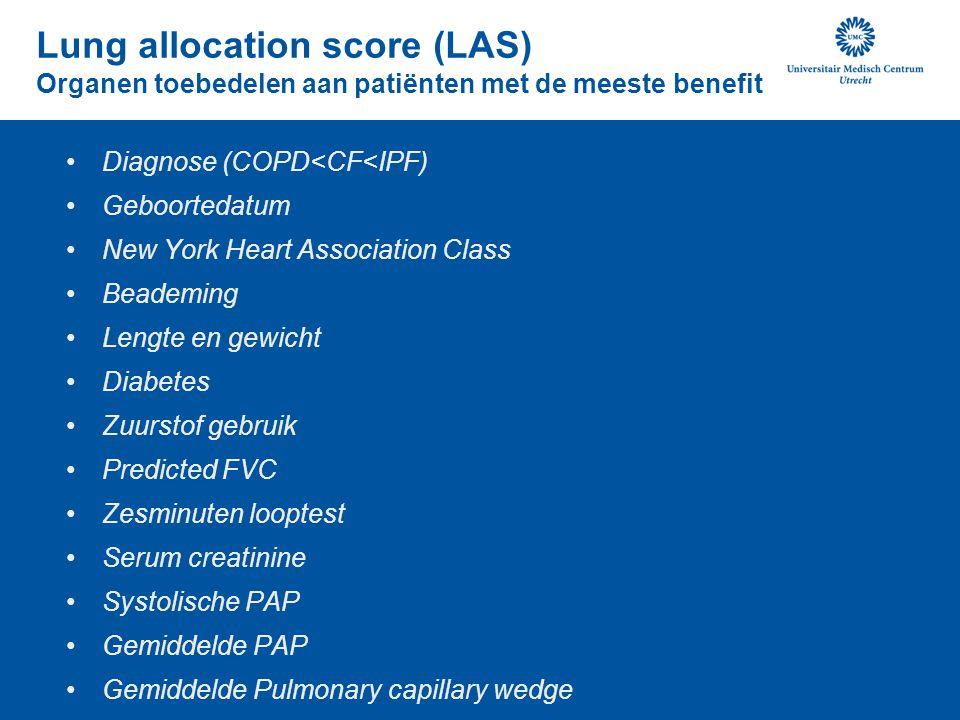 Lung allocation score (LAS) Organen toebedelen aan patiënten met de meeste benefit Diagnose (COPD<CF<IPF) Geboortedatum New York Heart Association Cla