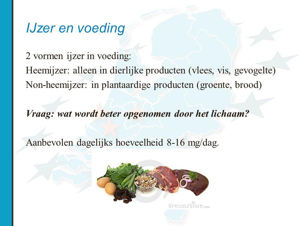 IJzer en voeding 2 vormen ijzer in voeding: Heemijzer: alleen in dierlijke producten (vlees, vis, gevogelte) Non-heemijzer: in plantaardige producten