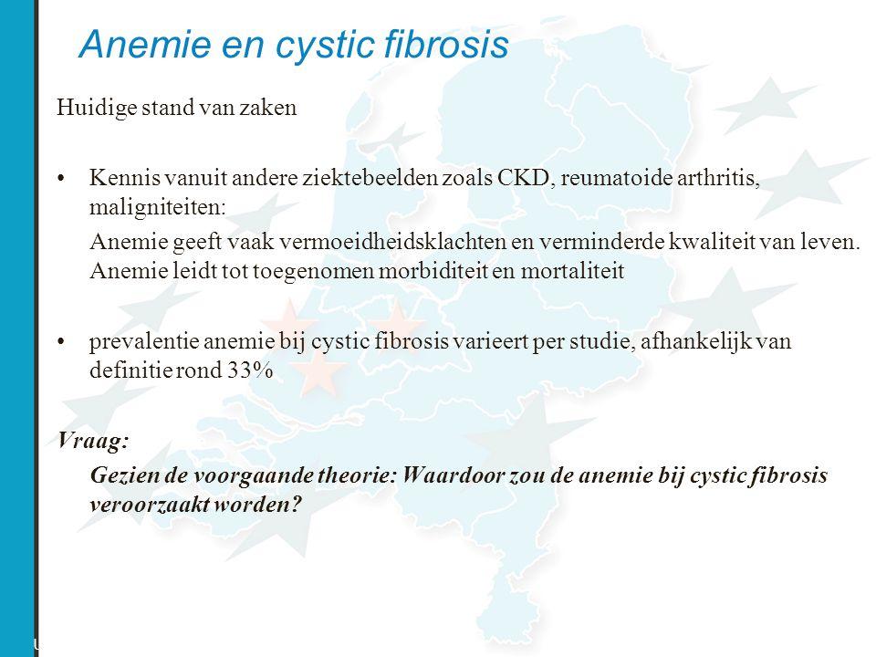 Anemie en cystic fibrosis US CF Registry 2002 Huidige stand van zaken Kennis vanuit andere ziektebeelden zoals CKD, reumatoide arthritis, maligniteite