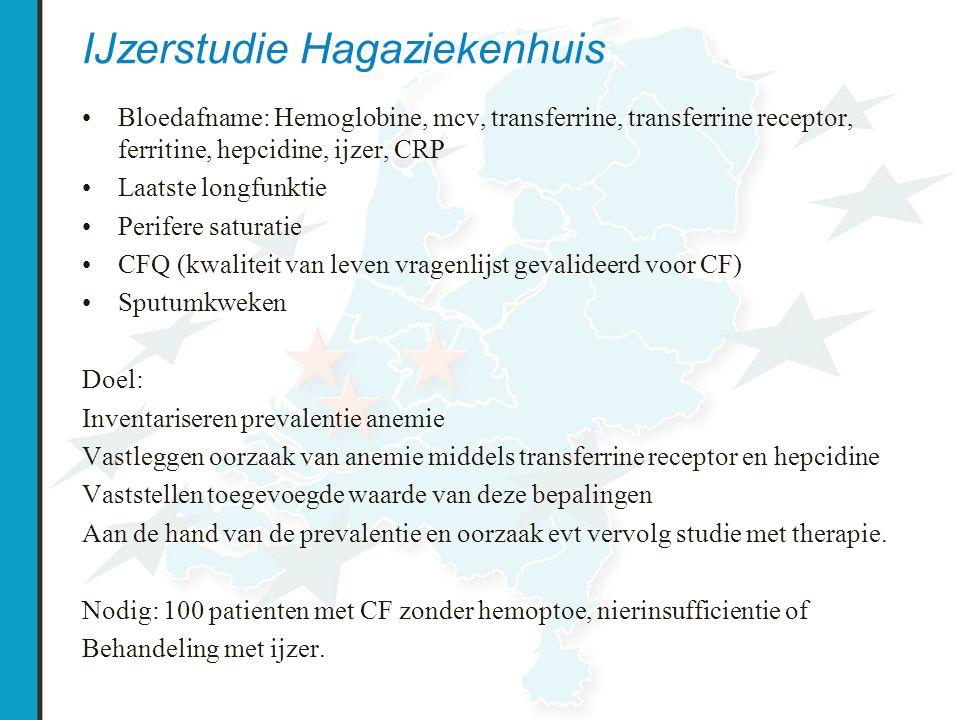 IJzerstudie Hagaziekenhuis Bloedafname: Hemoglobine, mcv, transferrine, transferrine receptor, ferritine, hepcidine, ijzer, CRP Laatste longfunktie Pe