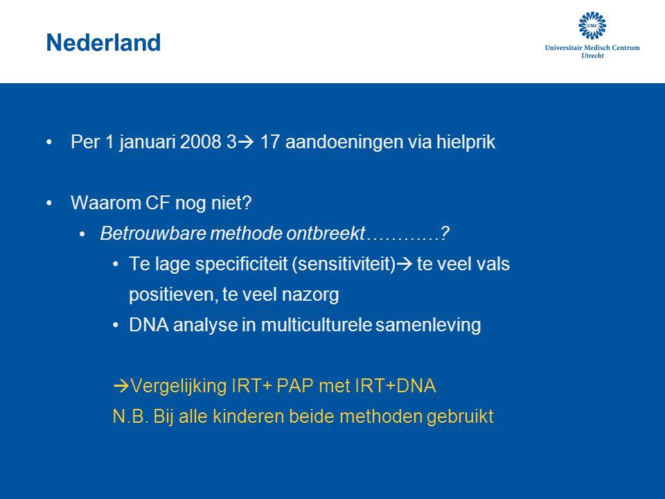 Nederland Per 1 januari 2008 3  17 aandoeningen via hielprik Waarom CF nog niet? Betrouwbare methode ontbreekt…………? Te lage specificiteit (sensitivit