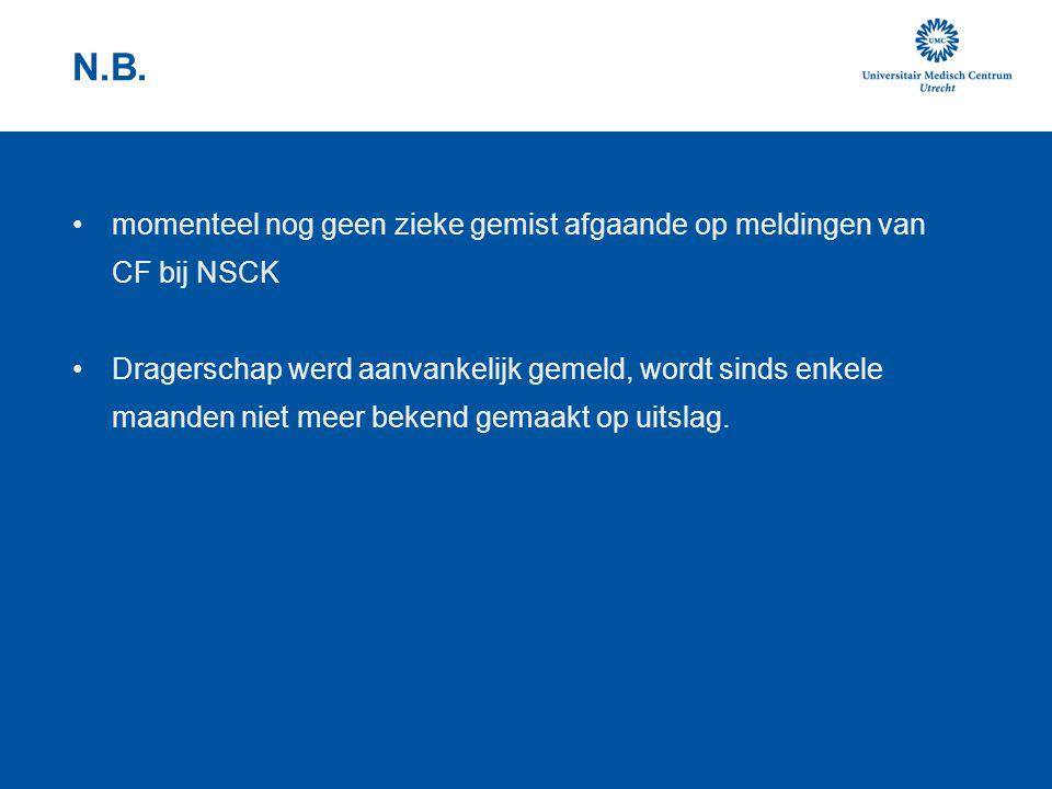 N.B. momenteel nog geen zieke gemist afgaande op meldingen van CF bij NSCK Dragerschap werd aanvankelijk gemeld, wordt sinds enkele maanden niet meer