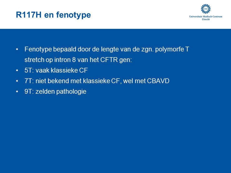 R117H en fenotype Fenotype bepaald door de lengte van de zgn. polymorfe T stretch op intron 8 van het CFTR gen: 5T: vaak klassieke CF 7T: niet bekend