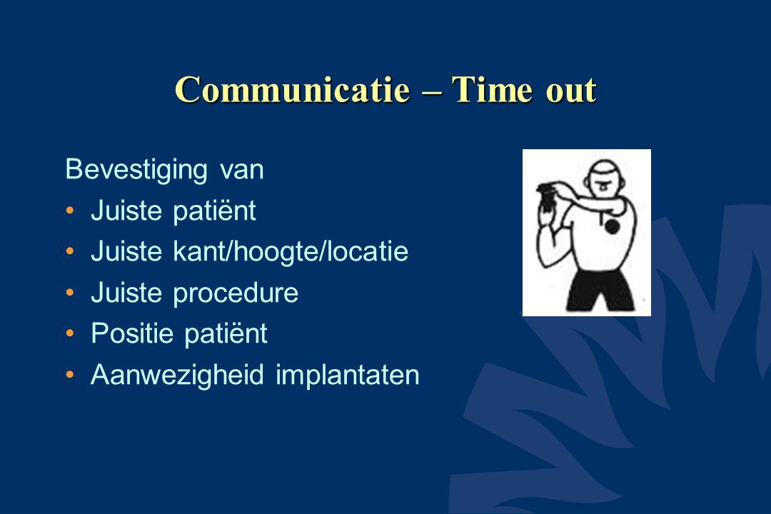 Communicatie – Time out Bevestiging van Juiste patiënt Juiste kant/hoogte/locatie Juiste procedure Positie patiënt Aanwezigheid implantaten