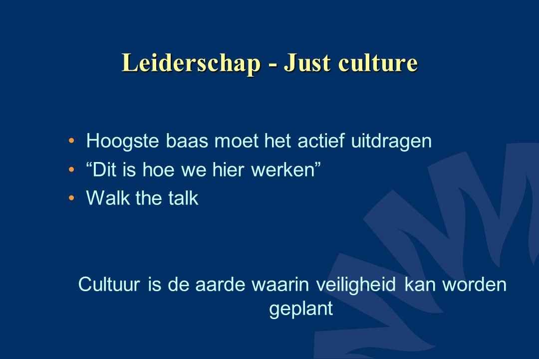 Leiderschap - Just culture Hoogste baas moet het actief uitdragen Dit is hoe we hier werken Walk the talk Cultuur is de aarde waarin veiligheid kan worden geplant