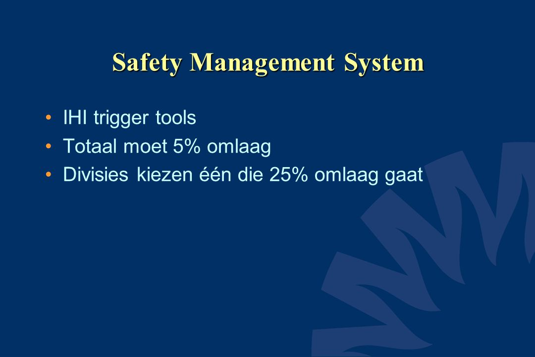 Safety Management System IHI trigger tools Totaal moet 5% omlaag Divisies kiezen één die 25% omlaag gaat