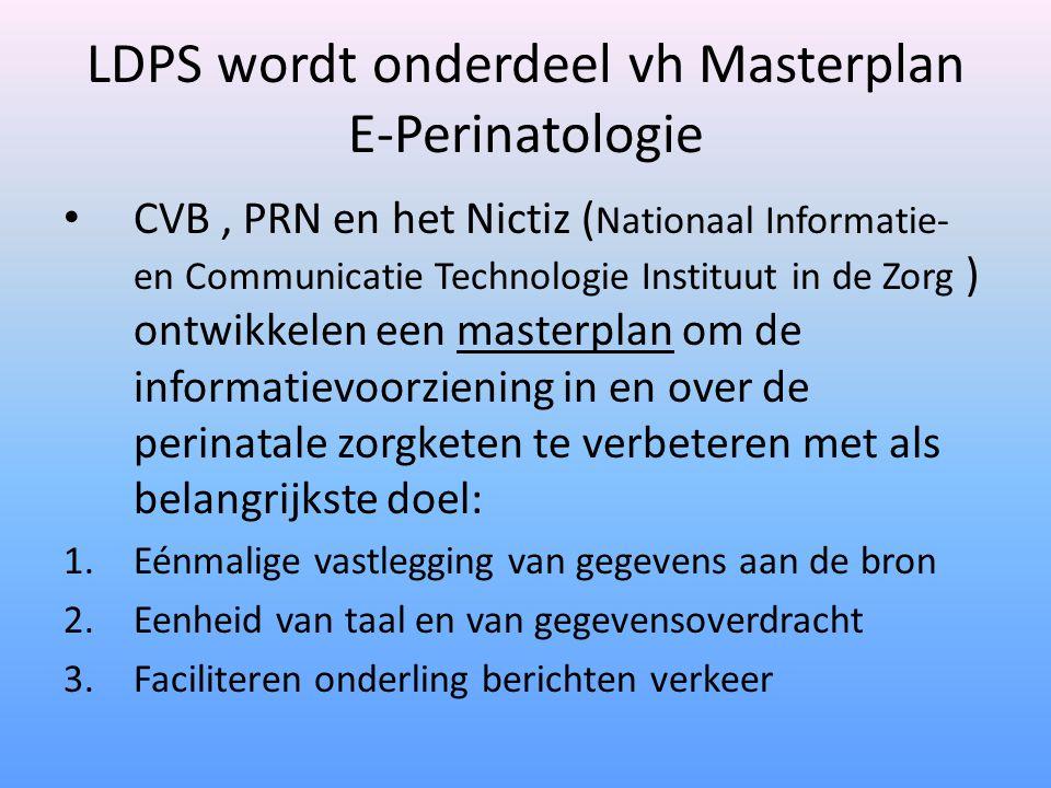 LDPS wordt onderdeel vh Masterplan E-Perinatologie CVB, PRN en het Nictiz ( Nationaal Informatie- en Communicatie Technologie Instituut in de Zorg ) ontwikkelen een masterplan om de informatievoorziening in en over de perinatale zorgketen te verbeteren met als belangrijkste doel: 1.Eénmalige vastlegging van gegevens aan de bron 2.Eenheid van taal en van gegevensoverdracht 3.Faciliteren onderling berichten verkeer