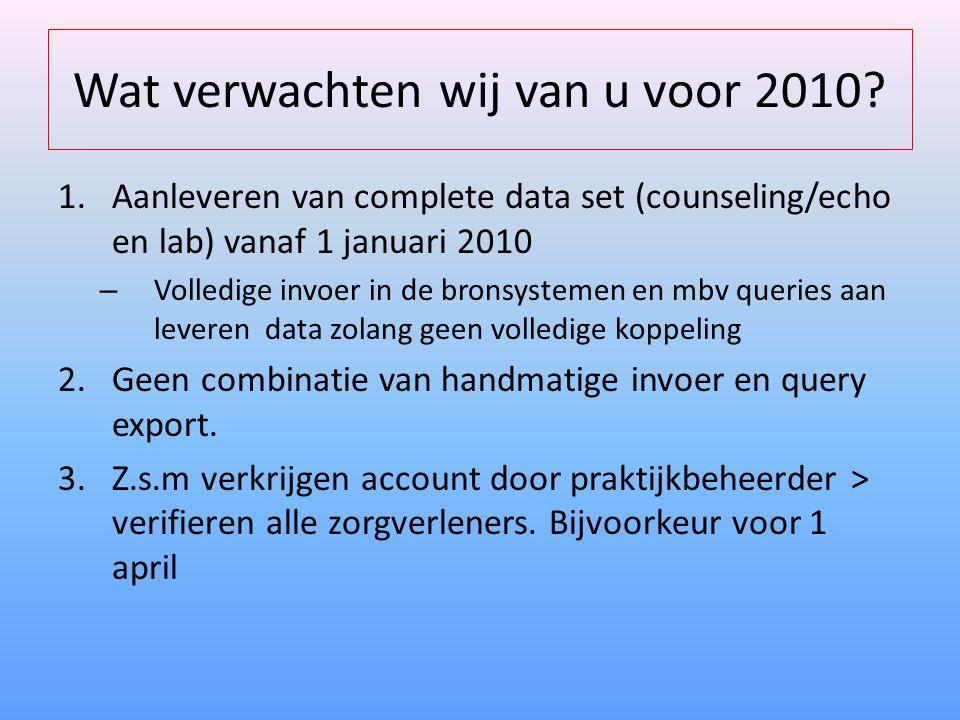 Wat verwachten wij van u voor 2010.