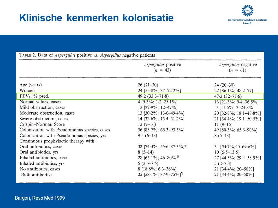Klinische kenmerken kolonisatie Bargon, Resp Med 1999