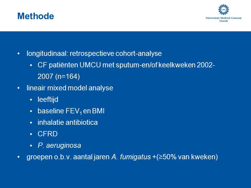 Methode longitudinaal: retrospectieve cohort-analyse CF patiënten UMCU met sputum-en/of keelkweken 2002- 2007 (n=164) lineair mixed model analyse leef