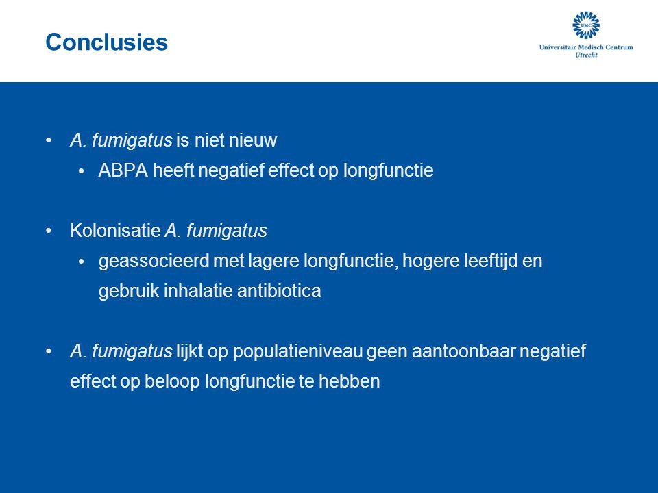 Conclusies A. fumigatus is niet nieuw ABPA heeft negatief effect op longfunctie Kolonisatie A. fumigatus geassocieerd met lagere longfunctie, hogere l