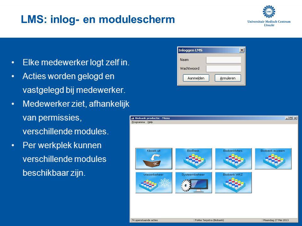 LMS: inlog- en modulescherm Elke medewerker logt zelf in. Acties worden gelogd en vastgelegd bij medewerker. Medewerker ziet, afhankelijk van permissi