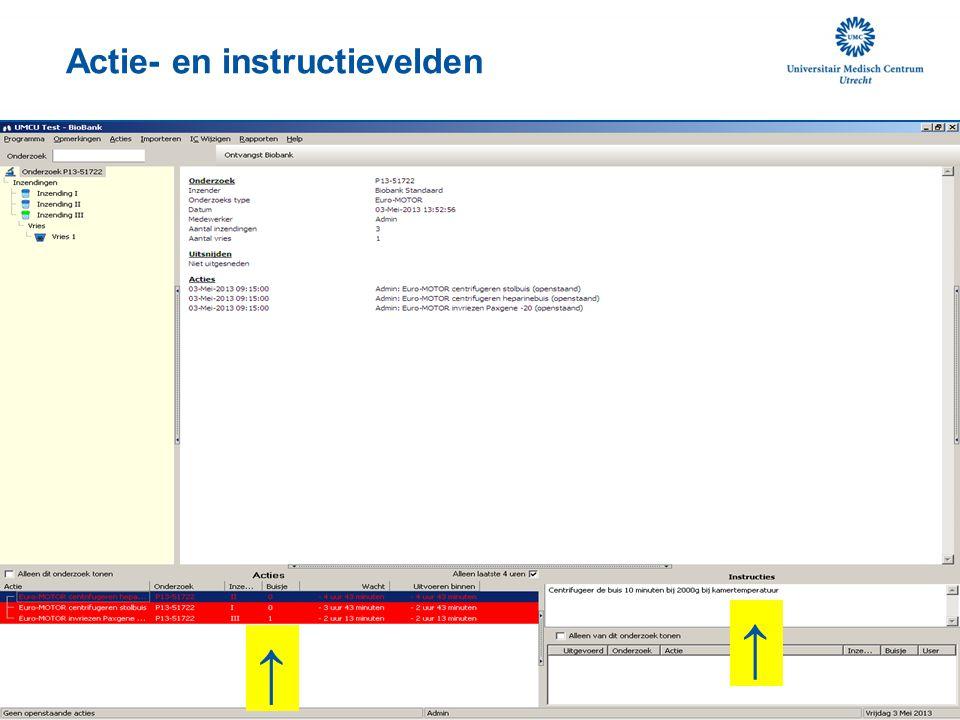 Actie- en instructievelden M.b.v. het GLIMS nummer labnummer wordt er automatisch een koppeling gemaakt naar het AZU patiëntennummer. Er wordt niets i