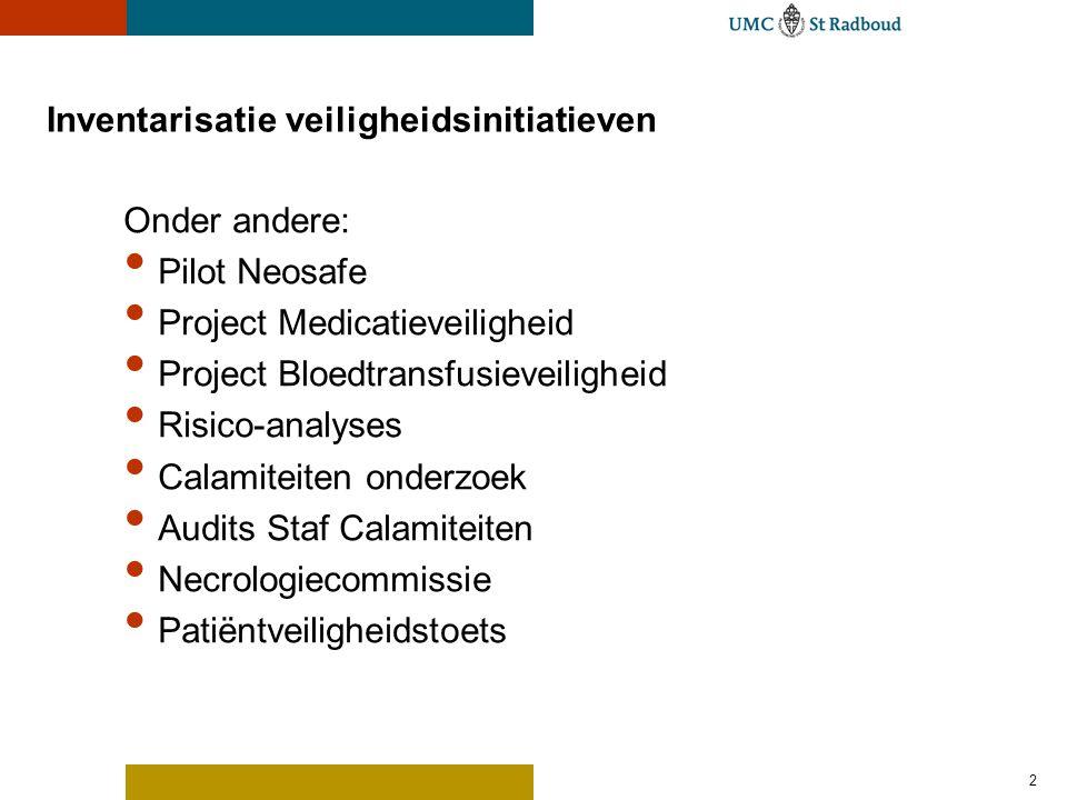 2 Inventarisatie veiligheidsinitiatieven Onder andere: Pilot Neosafe Project Medicatieveiligheid Project Bloedtransfusieveiligheid Risico-analyses Cal