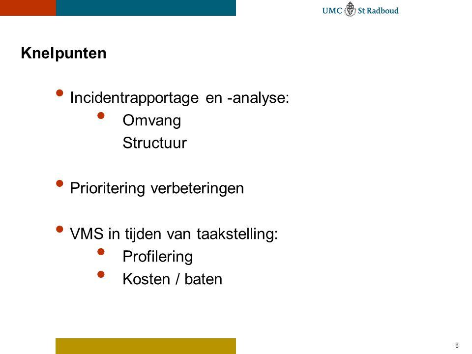8 Knelpunten Incidentrapportage en -analyse: Omvang Structuur Prioritering verbeteringen VMS in tijden van taakstelling: Profilering Kosten / baten