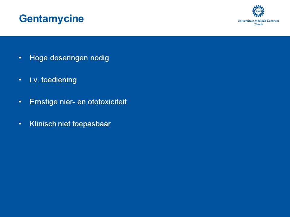 Gentamycine Hoge doseringen nodig i.v. toediening Ernstige nier- en ototoxiciteit Klinisch niet toepasbaar