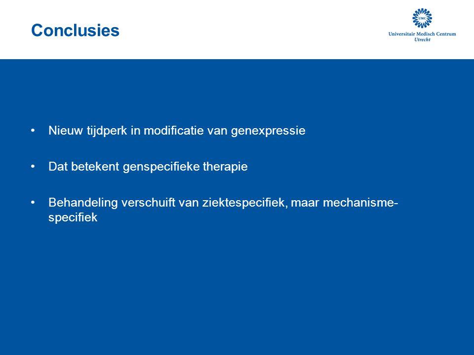 Conclusies Nieuw tijdperk in modificatie van genexpressie Dat betekent genspecifieke therapie Behandeling verschuift van ziektespecifiek, maar mechanisme- specifiek