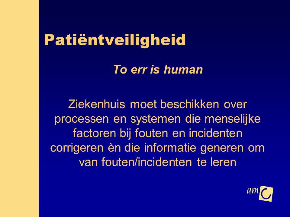 Patiëntveiligheid To err is human Ziekenhuis moet beschikken over processen en systemen die menselijke factoren bij fouten en incidenten corrigeren èn
