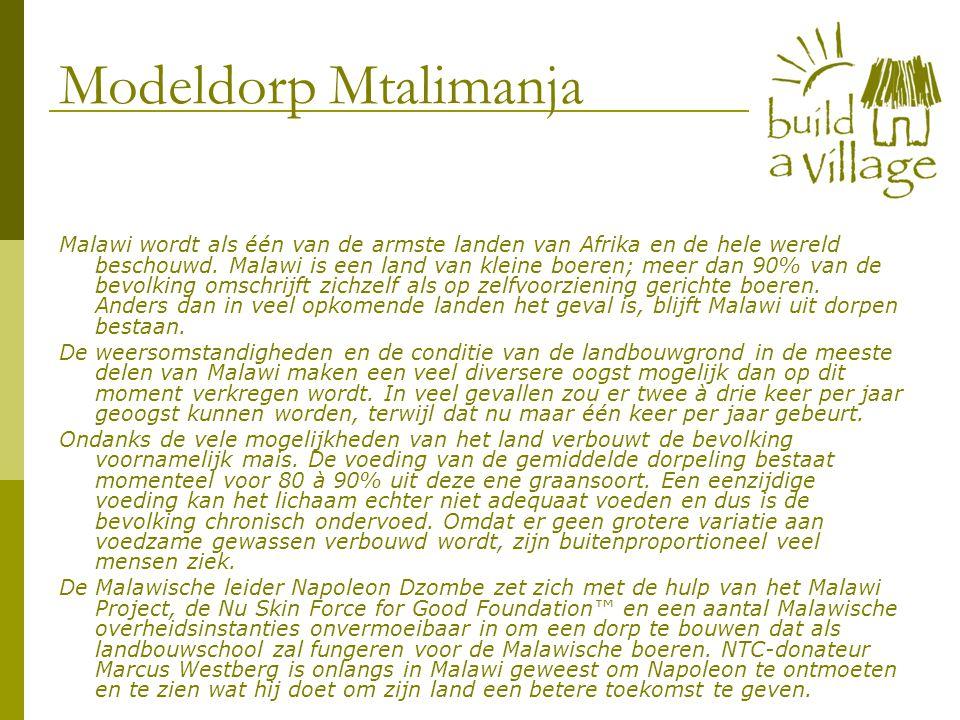 Modeldorp Mtalimanja Malawi wordt als één van de armste landen van Afrika en de hele wereld beschouwd.