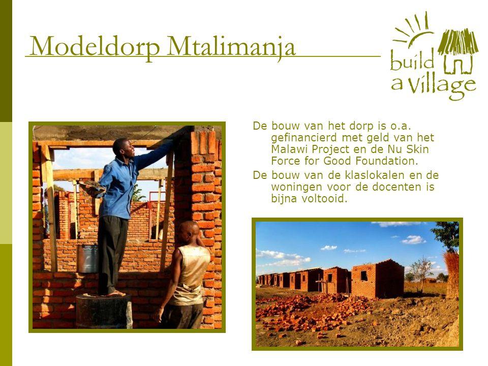 De bouw van het dorp is o.a. gefinancierd met geld van het Malawi Project en de Nu Skin Force for Good Foundation. De bouw van de klaslokalen en de wo