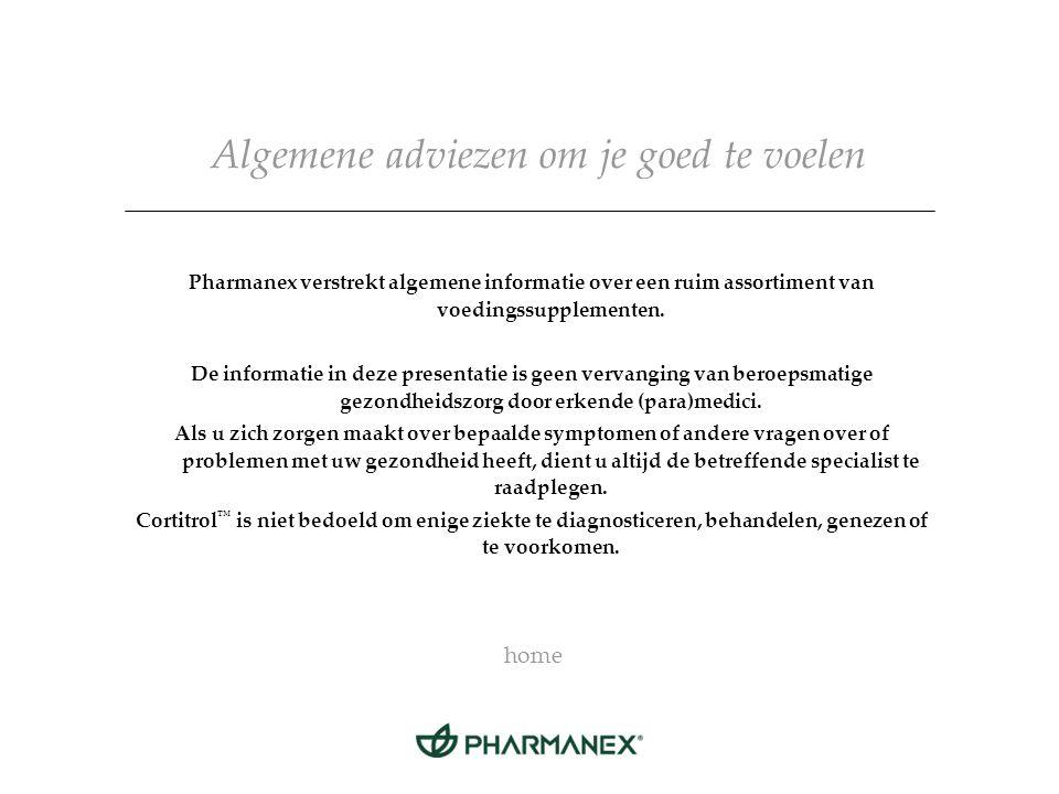 Algemene adviezen om je goed te voelen Pharmanex verstrekt algemene informatie over een ruim assortiment van voedingssupplementen.