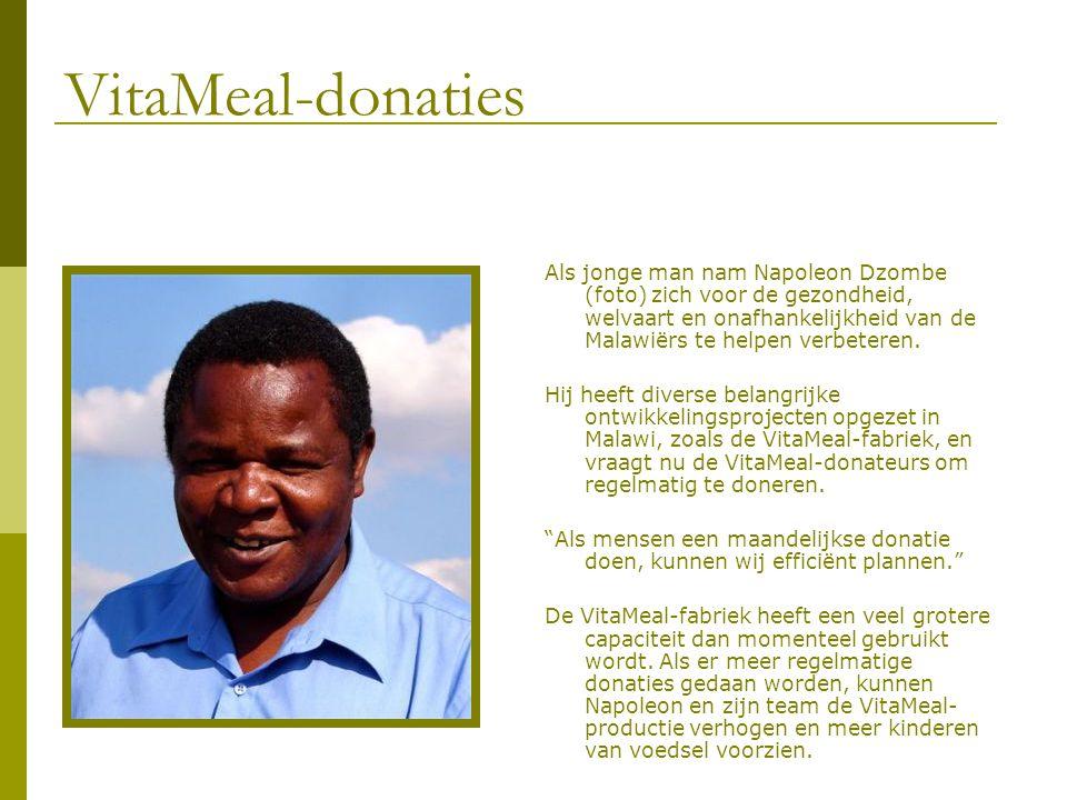 VitaMeal-donaties Als jonge man nam Napoleon Dzombe (foto) zich voor de gezondheid, welvaart en onafhankelijkheid van de Malawiërs te helpen verbetere