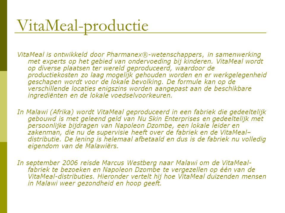 VitaMeal-productie VitaMeal is ontwikkeld door Pharmanex®-wetenschappers, in samenwerking met experts op het gebied van ondervoeding bij kinderen. Vit