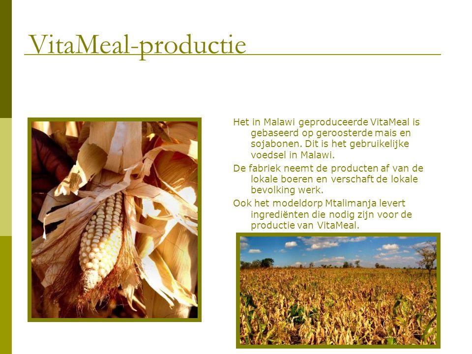 Het in Malawi geproduceerde VitaMeal is gebaseerd op geroosterde mais en sojabonen. Dit is het gebruikelijke voedsel in Malawi. De fabriek neemt de pr