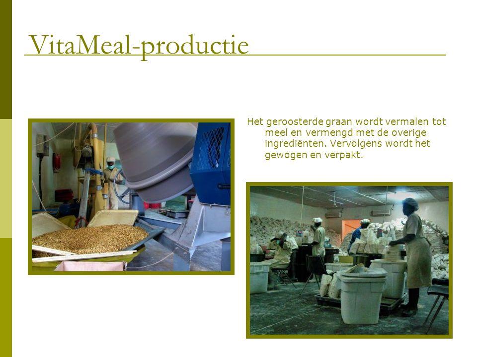 Het geroosterde graan wordt vermalen tot meel en vermengd met de overige ingrediënten. Vervolgens wordt het gewogen en verpakt. VitaMeal-productie