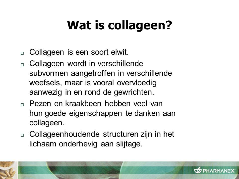 Wat is collageen?  Collageen is een soort eiwit.  Collageen wordt in verschillende subvormen aangetroffen in verschillende weefsels, maar is vooral