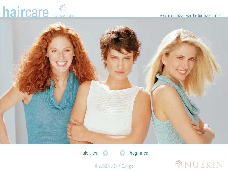 hair care © 2002 Nu Skin Europe beginnen afsluiten Voor mooi haar, van buiten naar binnen.