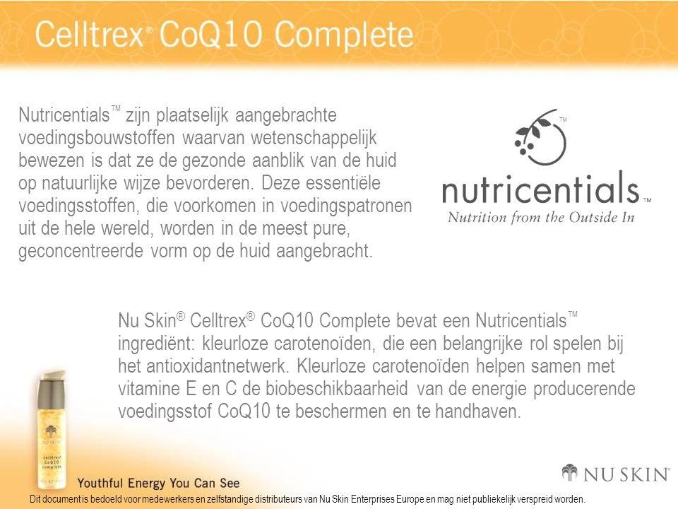 Dit document is bedoeld voor medewerkers en zelfstandige distributeurs van Nu Skin Enterprises Europe en mag niet publiekelijk verspreid worden. Nutri