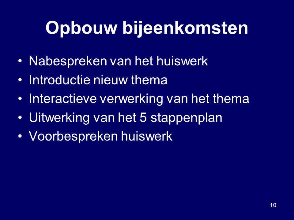 10 Opbouw bijeenkomsten Nabespreken van het huiswerk Introductie nieuw thema Interactieve verwerking van het thema Uitwerking van het 5 stappenplan Vo