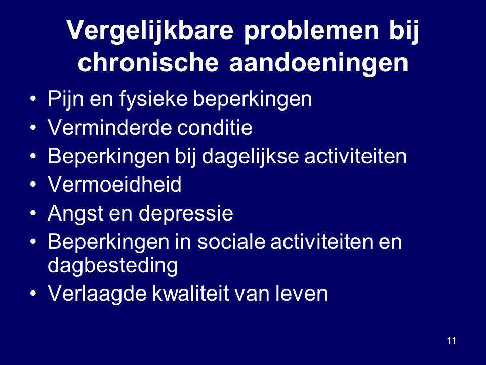 11 Vergelijkbare problemen bij chronische aandoeningen Pijn en fysieke beperkingen Verminderde conditie Beperkingen bij dagelijkse activiteiten Vermoe